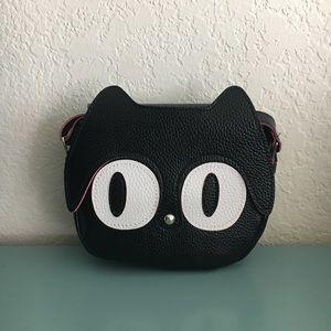 Handbags - LAST ONE Faux Leather Small Black Kitty Crossbody